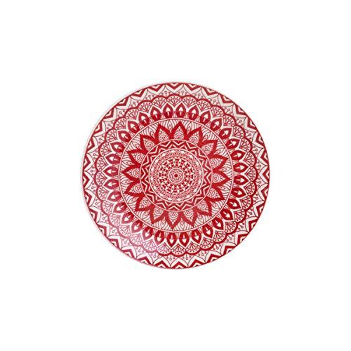 Prato P/sobremesa De Cerâmica Mandala Vermelho E Branco 19cm Lyor Vermelho E Branco Único