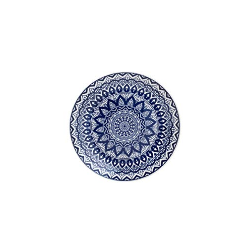 Prato Raso De Cerâmica Mandala Azul E Branco 26cm Lyor Azul E Branco Único