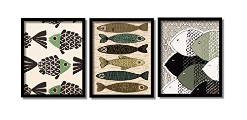 Quadro Peixes Decoração Moderna Sala Imagens Importadas