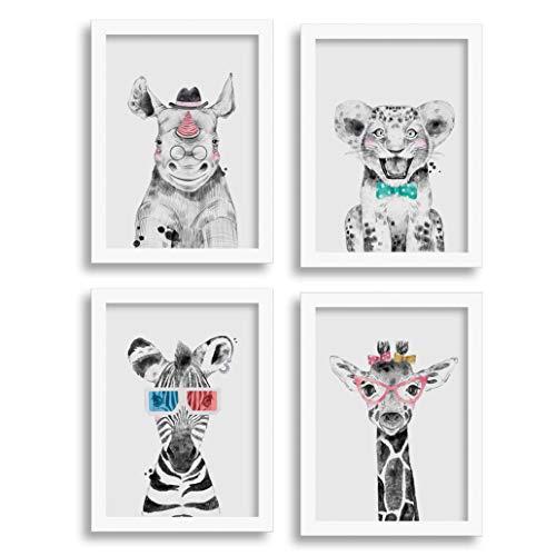 Quadros Safari Baby - Rinoceronte, Zebra, Leão e Girafa (33x43cm)