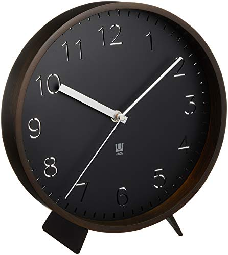 Relógio de Parede ou Mesa Rimwood Madeira 25,4 cm Preto Umbra