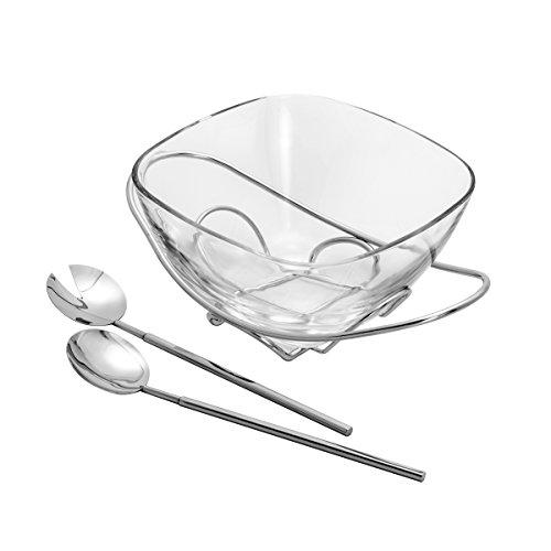 Saladeira de Vidro com Base e Talheres de Prata Rojemac Transparente