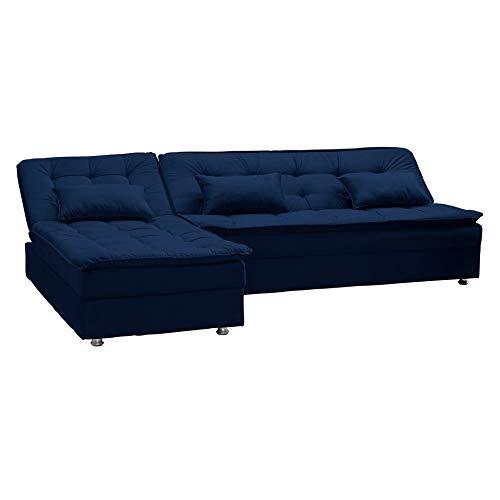 Sofá Cama Reclinavel com Chaise Penélope Azul Marinho B 254 Matrix