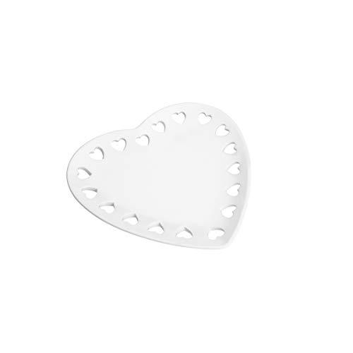 Travessa De Cerâmica Coração Branco 23x22cm Lyor Branco