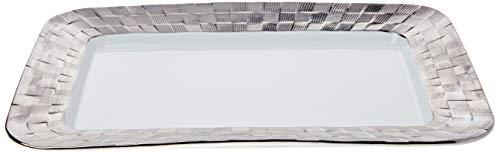 Travessa De Porcelana Vera Silver 33,5x23x2,5cm Wolff Indef Branco/prata No Voltagev