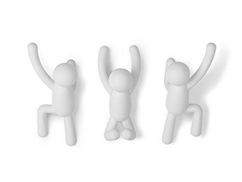 Umbra 318165-660, Conjunto De 3 Cabideiros De Parede Com O Desenho De Buddy, Feito Em Plástico Abs, Branco Umbra Branco