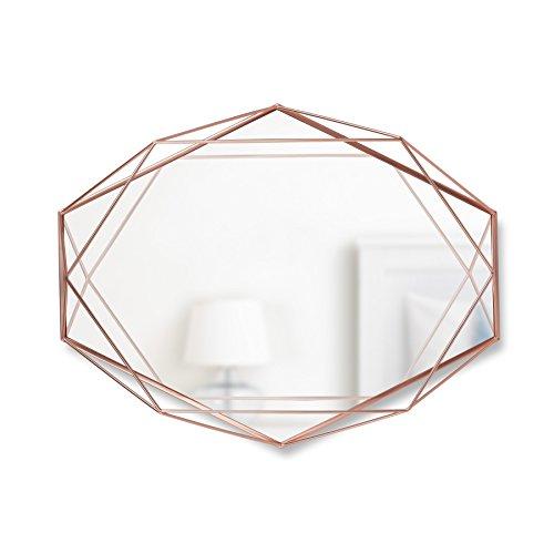 Umbra, Cobre, Espelho com Moldura em metal Prisma, 56.5x42.5x8.3cm, rose