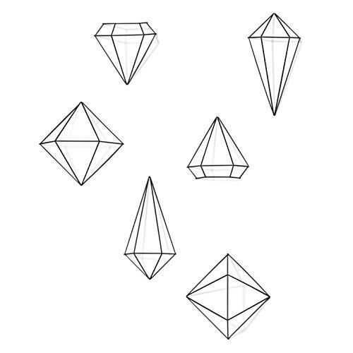 Umbra Prisma 470520-040, Adorno De Parede De 6 Peças De Formas Geométricas Feito Em Metal, Cor Dourado Umbra Preto