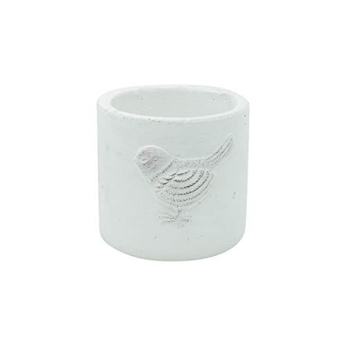 Vaso Cerâmica Embossed Bird Urban Branco Cimento