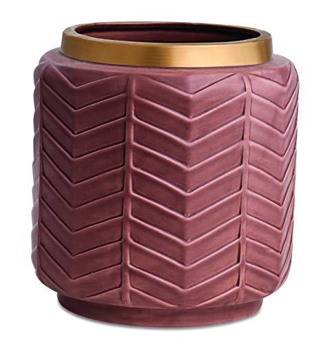 Vaso Marsala E Dourado Em Ceramica Mart Marsala