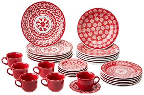 1 Aparelho de Jantar e Chá 30 Peças Oxford Daily Floreal Renda Branco/Vermelho