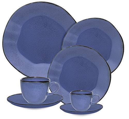 1 Aparelho De Jantar/chá/cafezinho 42 Peças Ryo Santorini - Rm42-9510 Oxford Ryo Azul E Marrom Escuro