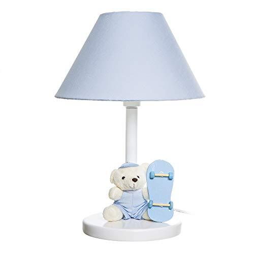 Abajur Madeira Urso Skate, Quarto Bebê Infantil Menino, Potinho de Mel, Azul