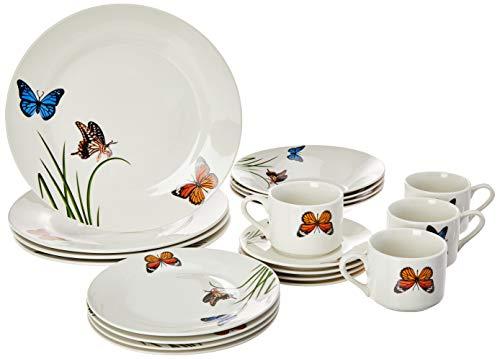 Aparelho de Jantar 20 Peças de Porcelana Butterflies Lyor Branco Único