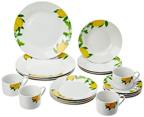 Aparelho de Jantar 20 Peças de Porcelana Lemons Lyor Branco Único