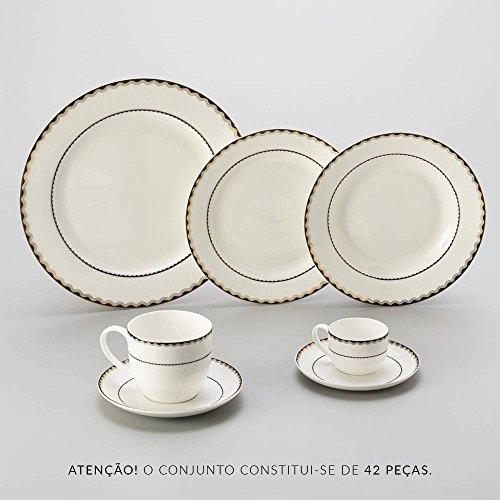 Aparelho de Jantar 42 Peças de Porcelana Bone China, Wolff, Blue Gold Alto Relevo, Única