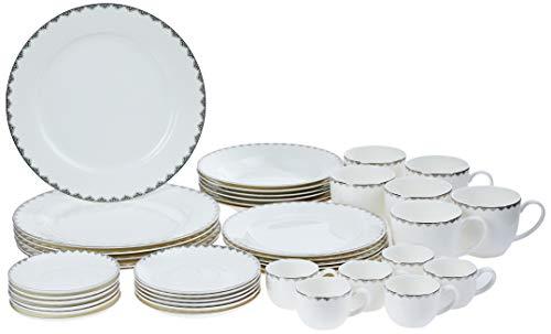 Aparelho de Jantar 42 Peças de Porcelana Bone China, Wolff, Minsk, Prateado