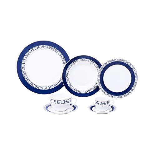 Aparelho de Jantar com 42 Peças de Porcelana New Bone Renaissance Mail Box Lyor Azul e Branco Único