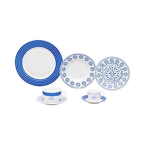 Aparelho Jantar 42 Peças de Porcelana High White, Wolff, Blue Geometry, Única