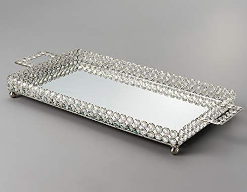 Bandeja de Ferro e Cristais com Espelho Prateado, Wolff Delhi, Única, 45 x 25 x 5 cm