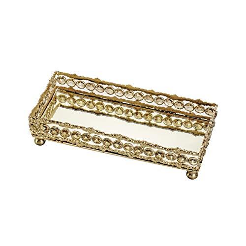 Bandeja Retangular de Ferro e Cristais com Espelho Rojemac Dourado