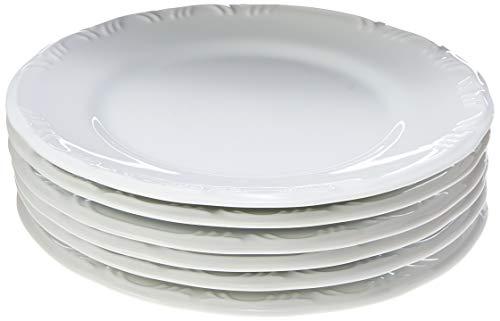 Estojo com 6 Pratos Rasos em Porcelana - Modelo Redondo com Relevo Pomerode - Branca - fabricado pela Schmidt.