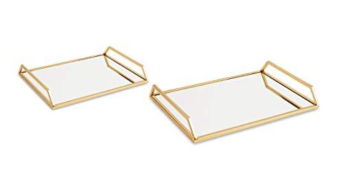 Kit Bandeja em Metal com Espelho, Mart, 11166, Dourado, 2 Peças