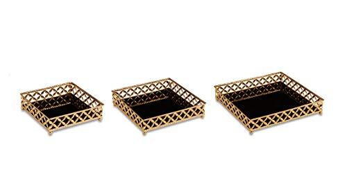 Kit Bandeja em Metal com Espelho Preto, Mart, 11414, Dourada, 3 Peças