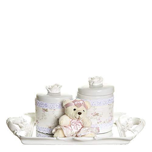 Kit Bandeja Espelho com 2 Potes e Ursinha de Tiara, Quarto Bebê Menina, Potinho de Mel, Rosa