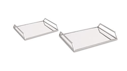 Kit Bandeja Prata Em Metal Com Espelho - 2 Pcs Mart Prata
