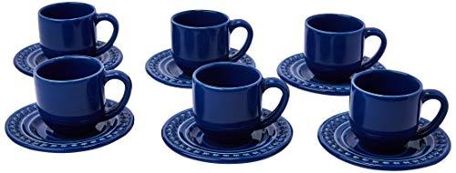 Porto Brasil Conjunto Com 6 Xícaras De Café C/ Pires Atenas Azul Navy