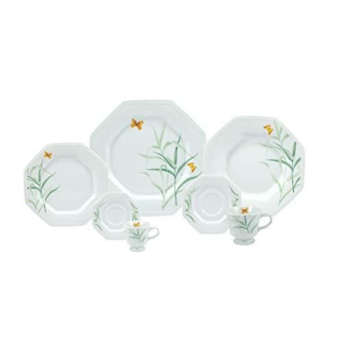 Serviço de Jantar Chá Café 42 peças em Porcelana - Modelo Octogonal Prisma - Decoração Eliana - Porcelana Real by Schmidt