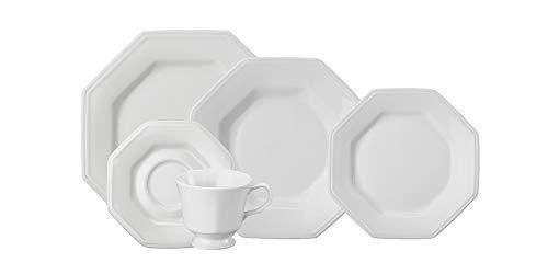 Serviço de Jantar e Chá 30 peças em Porcelana. Modelo Octogonal Prisma. Branca. Fabricado pela Schmidt.