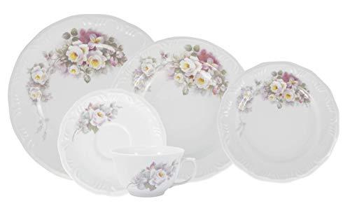 Serviço de Jantar e Chá 30 peças em Porcelana. Modelo Redondo com Relevo Pomerode. Decoração Eterna. Fabricado pela Schmidt.