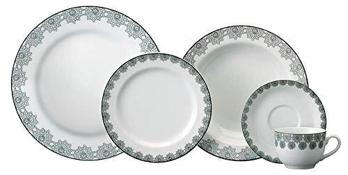 Serviço de Jantar e Chá 30 peças em Porcelana. Modelo Redondo Voyage. Decoração Taís. Fabricado pela Schmidt.