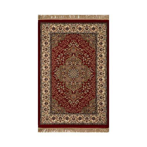 Tapete Persa Kerman Vermelho e Bege com Detalhes - 100x150cm