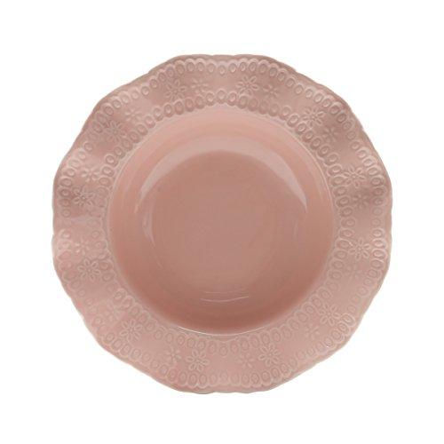 Conjunto 6 Pratos Fundos de Porcelana Princess Lyor Rosa 21Cm