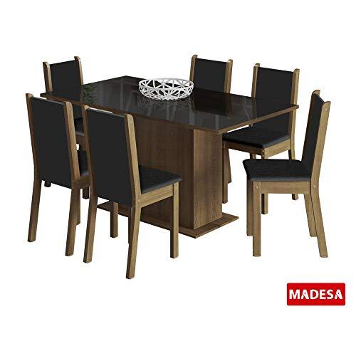 Conjunto de Mesa Madesa Anis c/ 6 Cadeiras Rustic/Preto SE