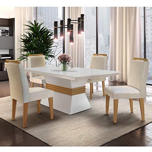 Conjunto Sala de Jantar Mesa e 4 Cadeiras Santorini Siena Móveis Veludo Creme/Off White/Imbuia