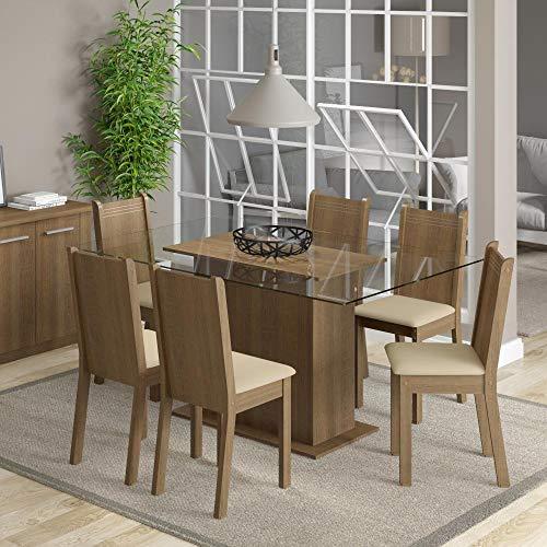 Conjunto Sala de Jantar Mesa e 6 Cadeiras Molly Madesa Rustic/Pérola