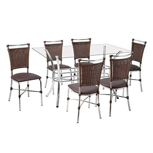Conjunto Sala de Jantar Mesa Tampo de Vidro Alice 6 Cadeiras Primavera Cromado