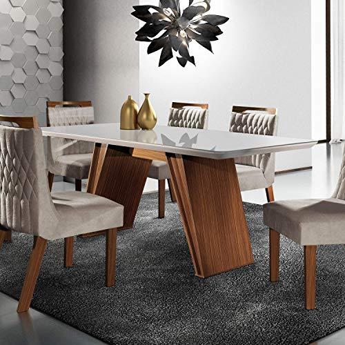 Conjunto Sala de Jantar Mesa Tampo MDF e 6 Cadeiras Atlanta Chanfro Premium Siena Móveis Castanho Premio/Pena Bege
