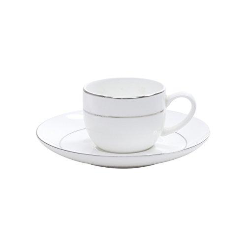 Jogo de 42 Peças para Jantar de Porcelana Rojemac Branco / Prata