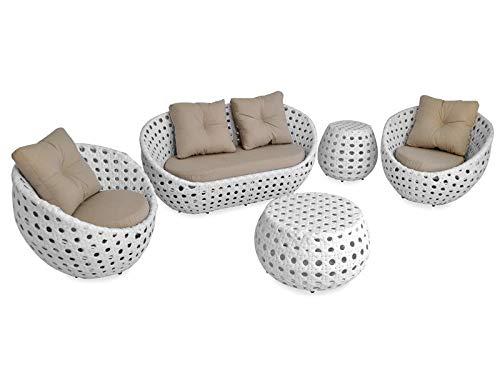 Jogo de sofá em fibra sintética para área externa e interna