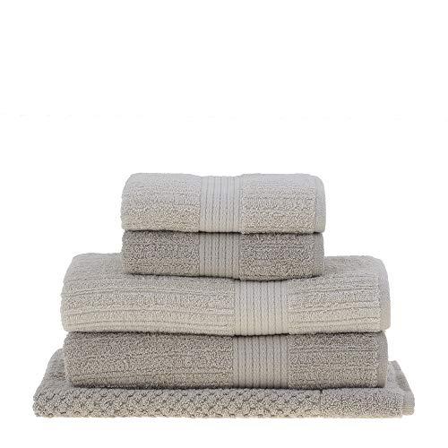 jogo de toalhas de banho buddemeyer 5 peças fio penteado canelado bege 090