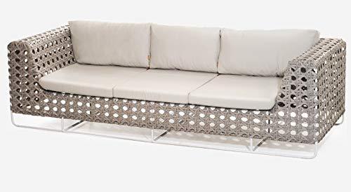 Sofá 3 lugares para sala e área externa feito em fibra sintética com almofadas impermeáveis