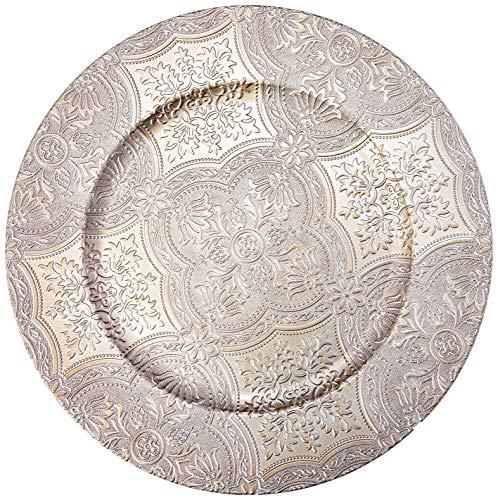 Sousplat India Em Plastico D33cm Cor Prata L'hermitage Dourado No Voltagev