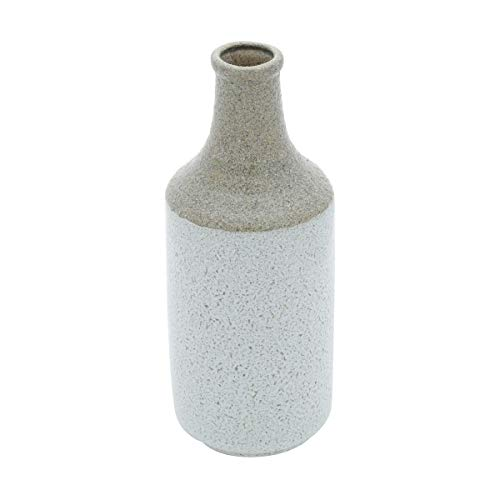 Vaso Decorativo Porcelana Cinza 14X36Cm