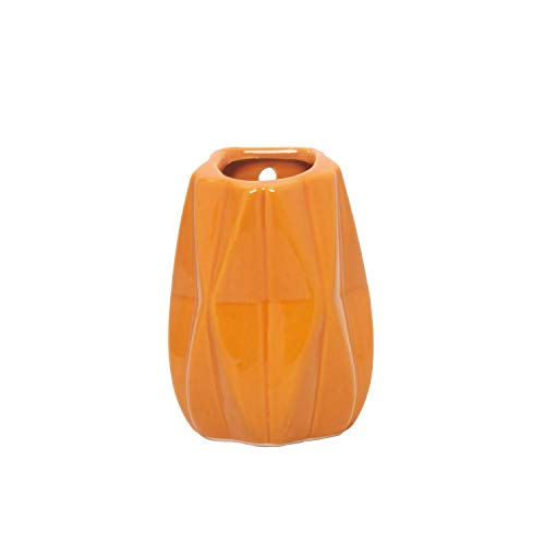 Vaso Decorativo Porcelana Suspenso Laranja 10X8X14Cm
