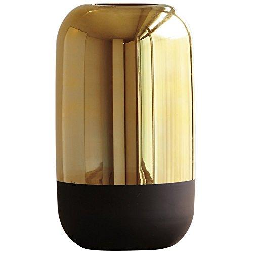Vaso Dourado e Preto em Vidro, Mart, Dourado/Preto